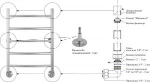 Водяной полотенцесушитель Аксиома 600х400 Стилье (Сунержа).  Варианты подключения: нижнее, диагональное, вертикальное.