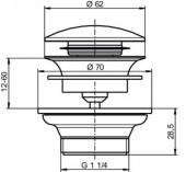 Сливной вентиль с функцией Push-Push для раковины SANIT.  Материал: нижняя.